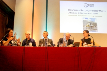 Panel discussion on research and innovation challenges with (left to right) Jacqui Murray, Jim Wharfe, Andy Rees, Adam Read and, chair, Libby Peake