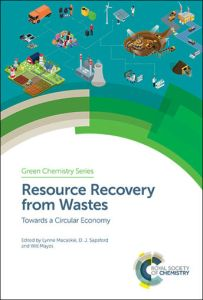 Cover image of the Resource Recovery from Wastes book published by the Royal Society of Chemistry in 2019